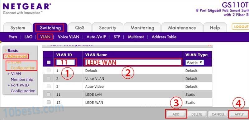 网件交换机添加VLAN
