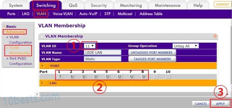 网件交换机配置VLAN成员