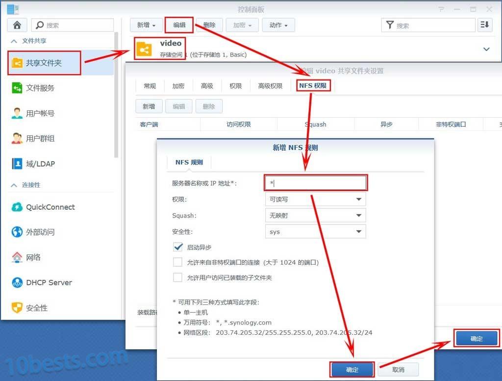 群晖设置共享文件夹的NFS权限